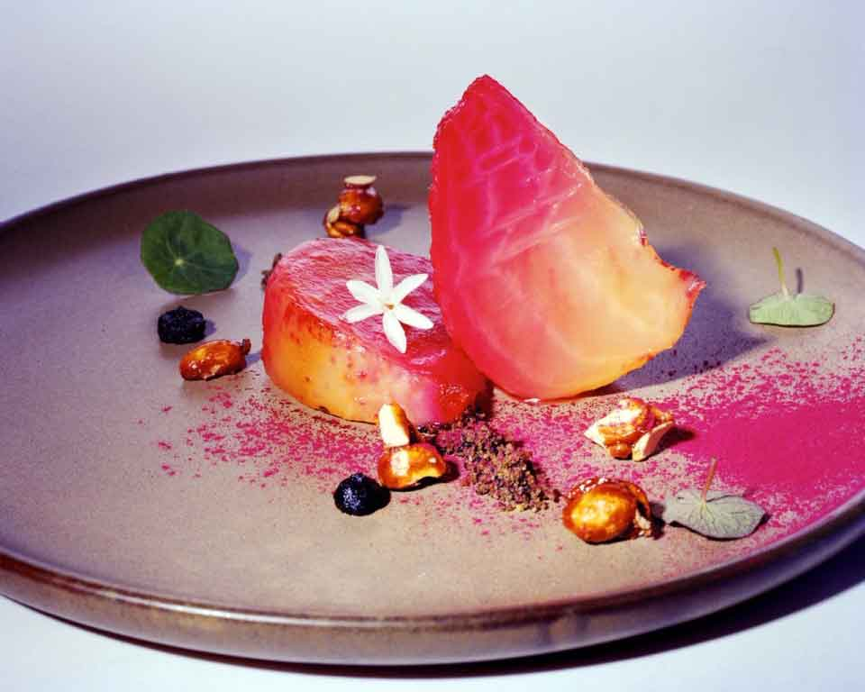 Chioggia beetroot in salt crust, black garlic purée…