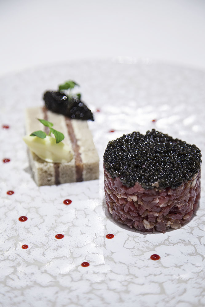 caviar, oyster and beef Tartar